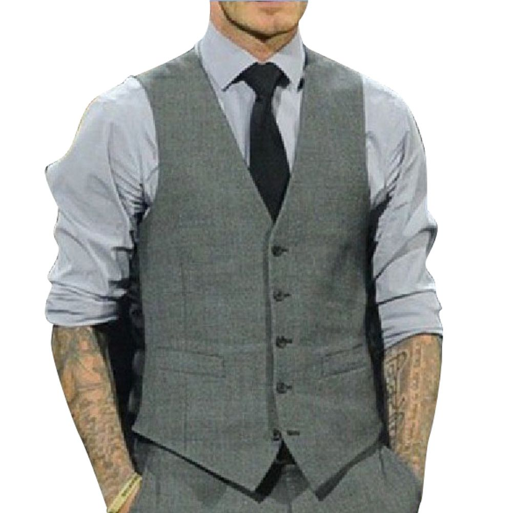 Details about New Men's Slim Fit Casual Formal Dress Vest Suits ...
