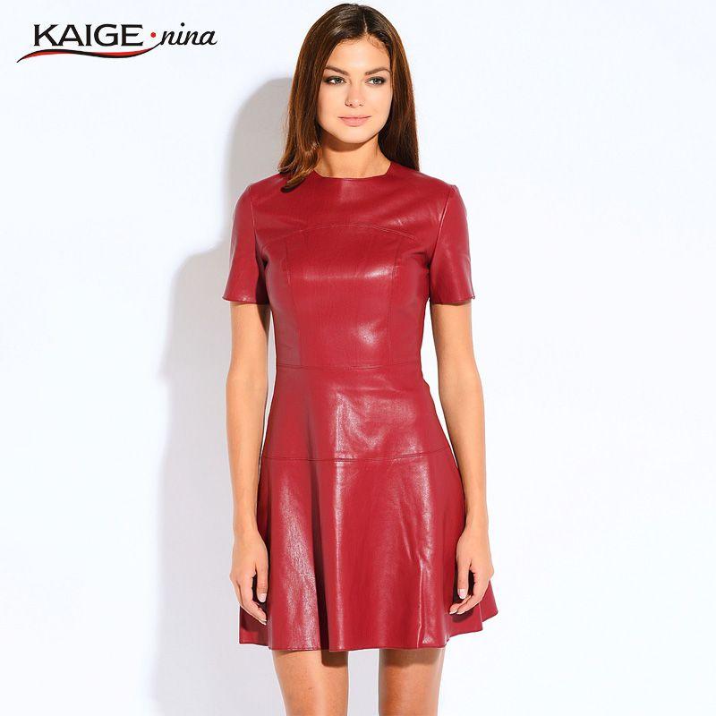 Heißer Verkauf Frauen Mode Leder Kleid A linie O ansatz Schwarz ...