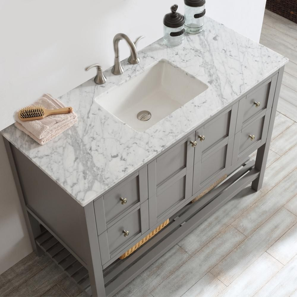 Roswell Florence 48 In W X 22 In D X 35 In H Vanity In Grey With Marble Vanity Top In White With Basin 713048 Gr Ca Nm In 2020 Single Bathroom Vanity Vanity