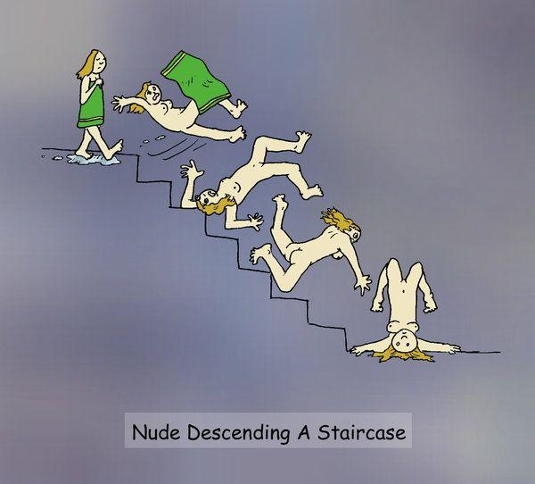 Nude duck descending a staircase