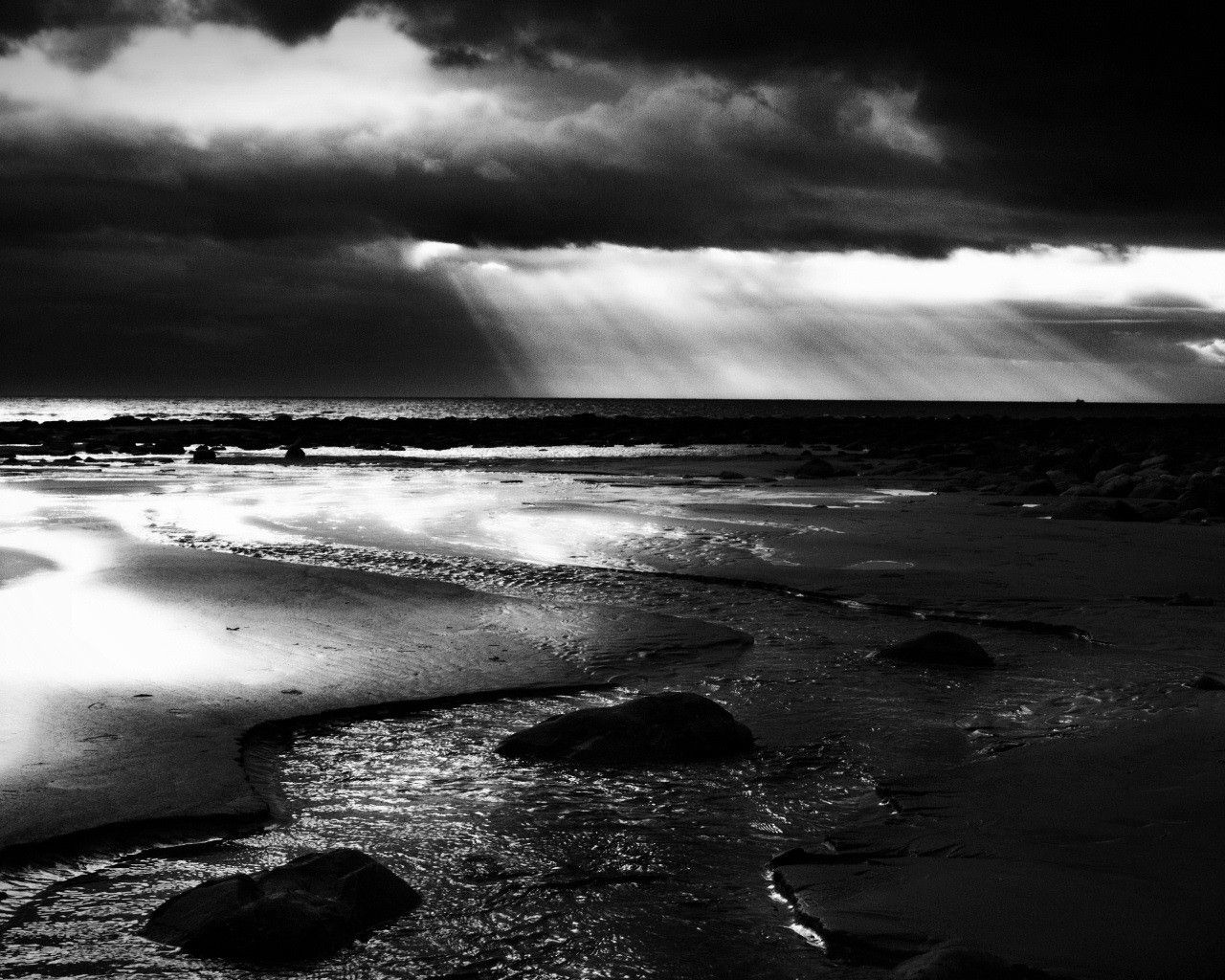 Nuit Sur La Mer 2 Ecran Noir Et Blanc Noir Et Blanc Nuage
