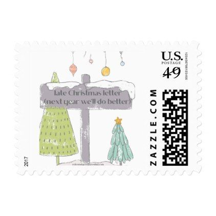 Late To Send Christmas And Holiday Cards Stamp