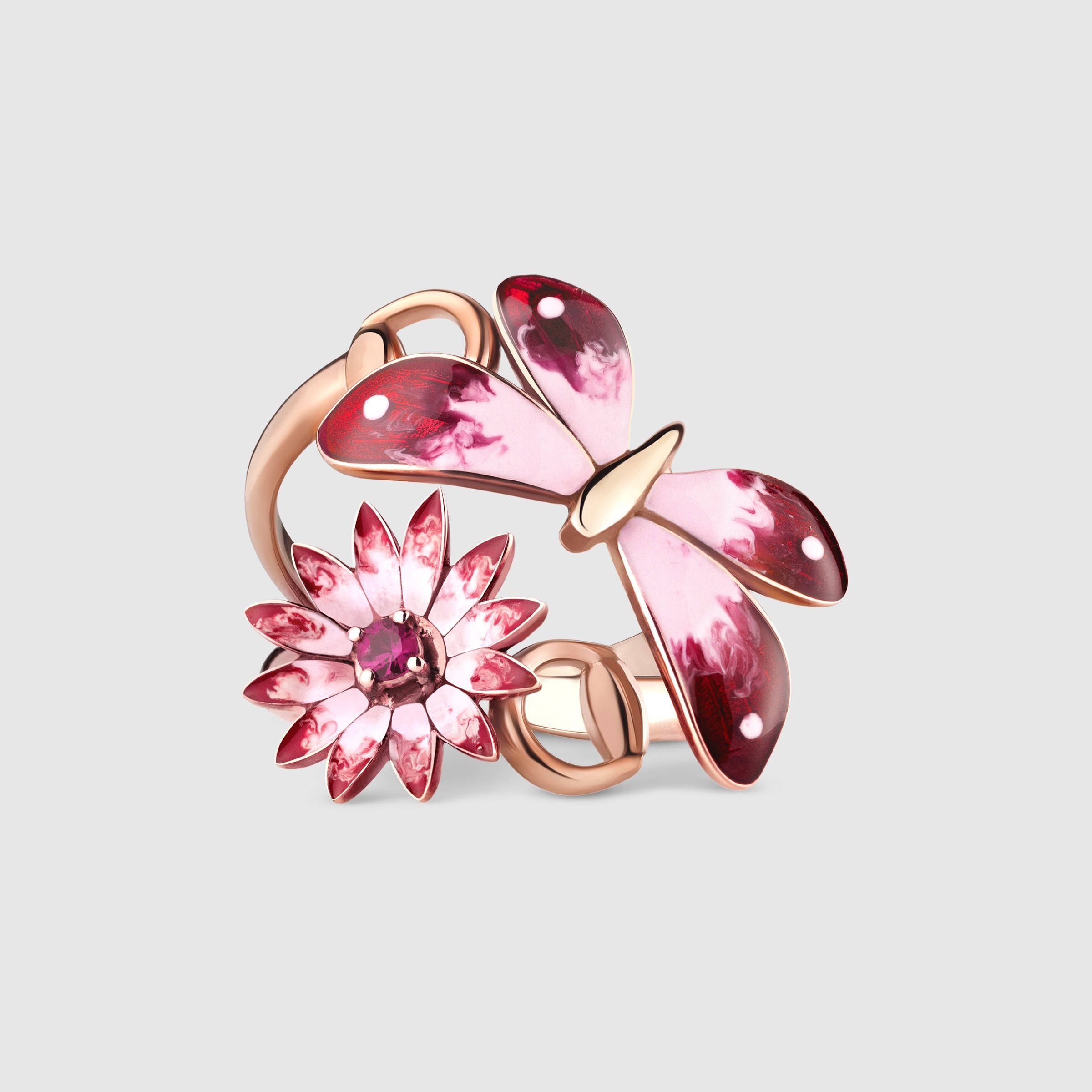 Gucci Flora ring in rose gold, enamel and rubies | Raging Rings ...