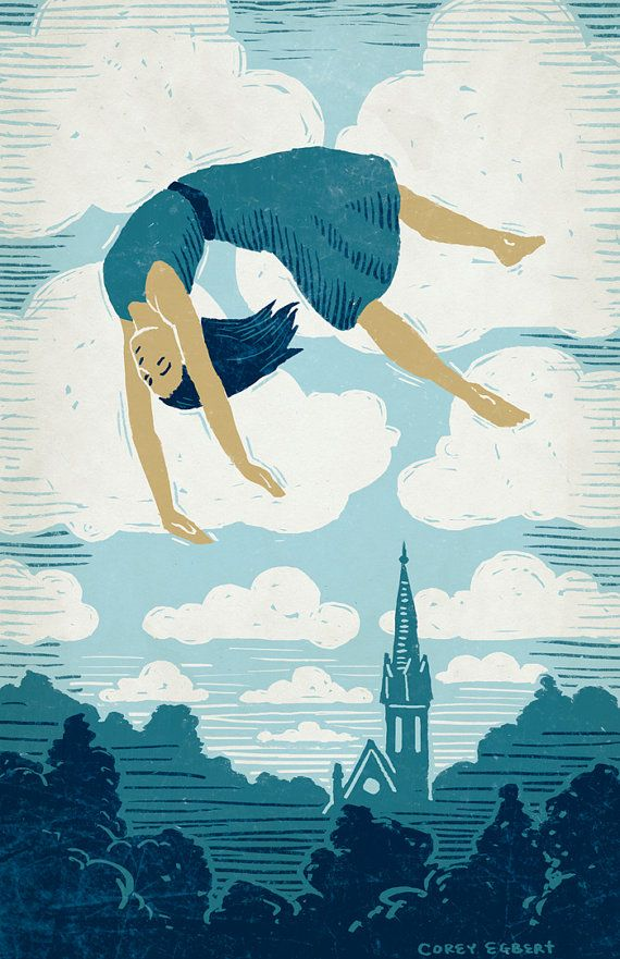 3eacad84de08 Girl Floating in the Air Art Print by OlliesRoomArt on Etsy, $30.00 ...