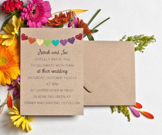 Items Similar To Wedding Invitations Rainbow Stationery Kraft Simple Bunting Flag Invites Casual Garland
