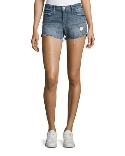 FRAME Le Cut Off Tulip-Hem Denim Shorts, Valle. #frame #cloth #