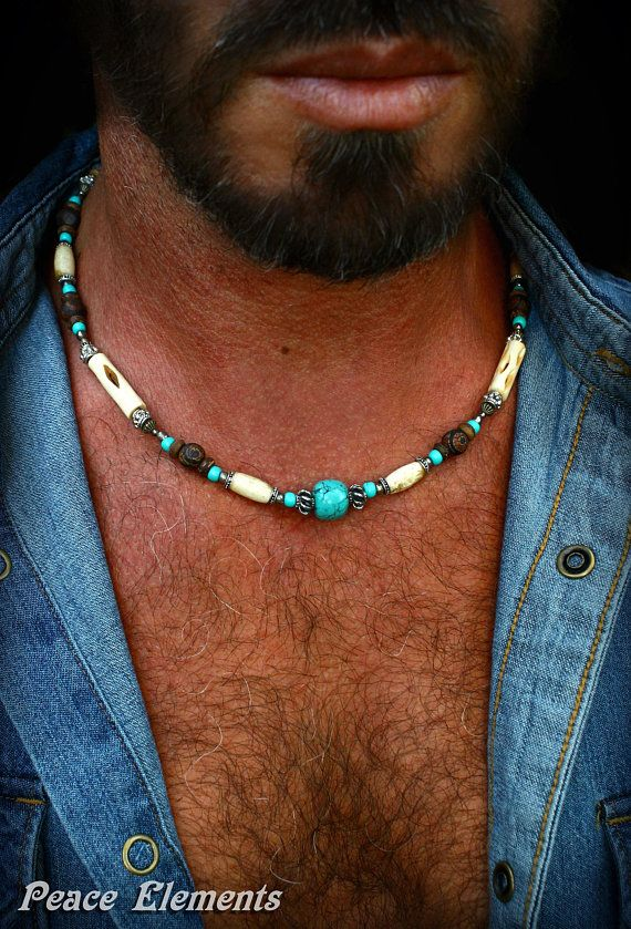 Bohemian necklace for men / Mens beaded necklace / turquoise necklace for men / gift for dad / gemstone jewelry / white necklace for men #gemstonejewelry