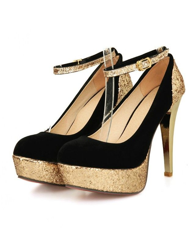 fdb3d6768ddb Glittery And Shimmery Rounded Toe High Heel Pumps With Ankle Strap High  Heel Pumps, Pumps