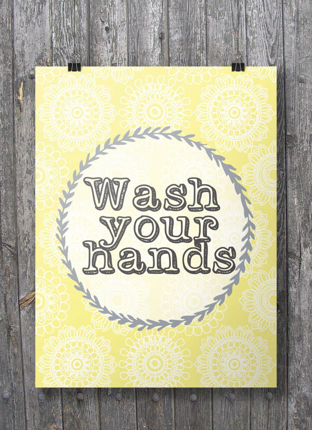 Wash your hands - Bathroom Printable wall art - Yellow and grey A3 ...