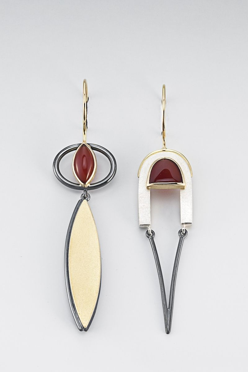 Custom Made Asymmetrical earrings with oxidized sterling silver, gold and carnelian