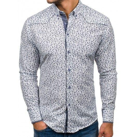 Elegantní pánské vzorované košile bílé barvy  0fecff347f