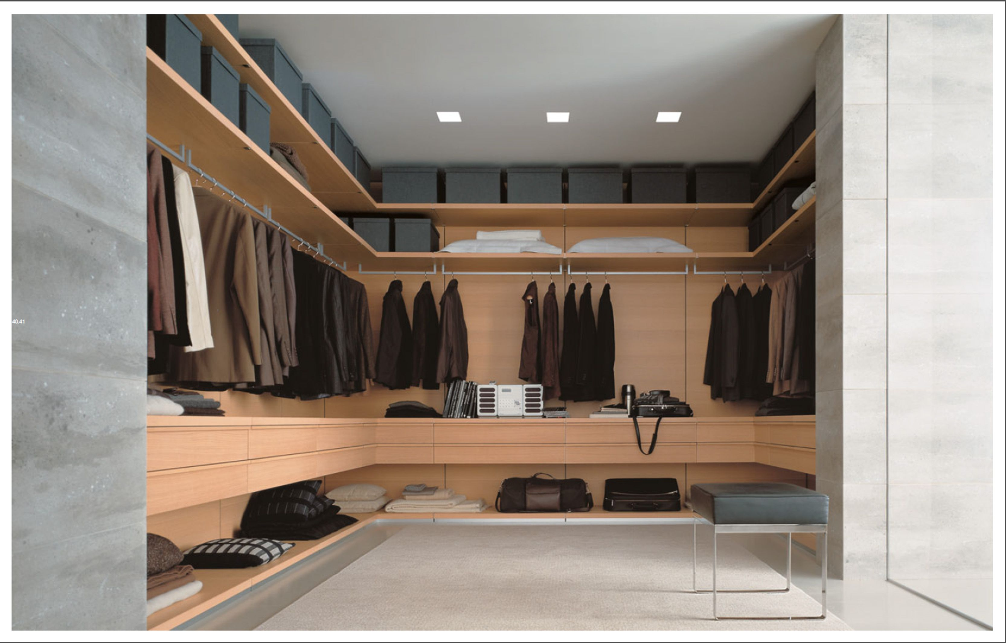 Poliform Closet/ Dressing Room. Light Wood U0026 Concrete Wall