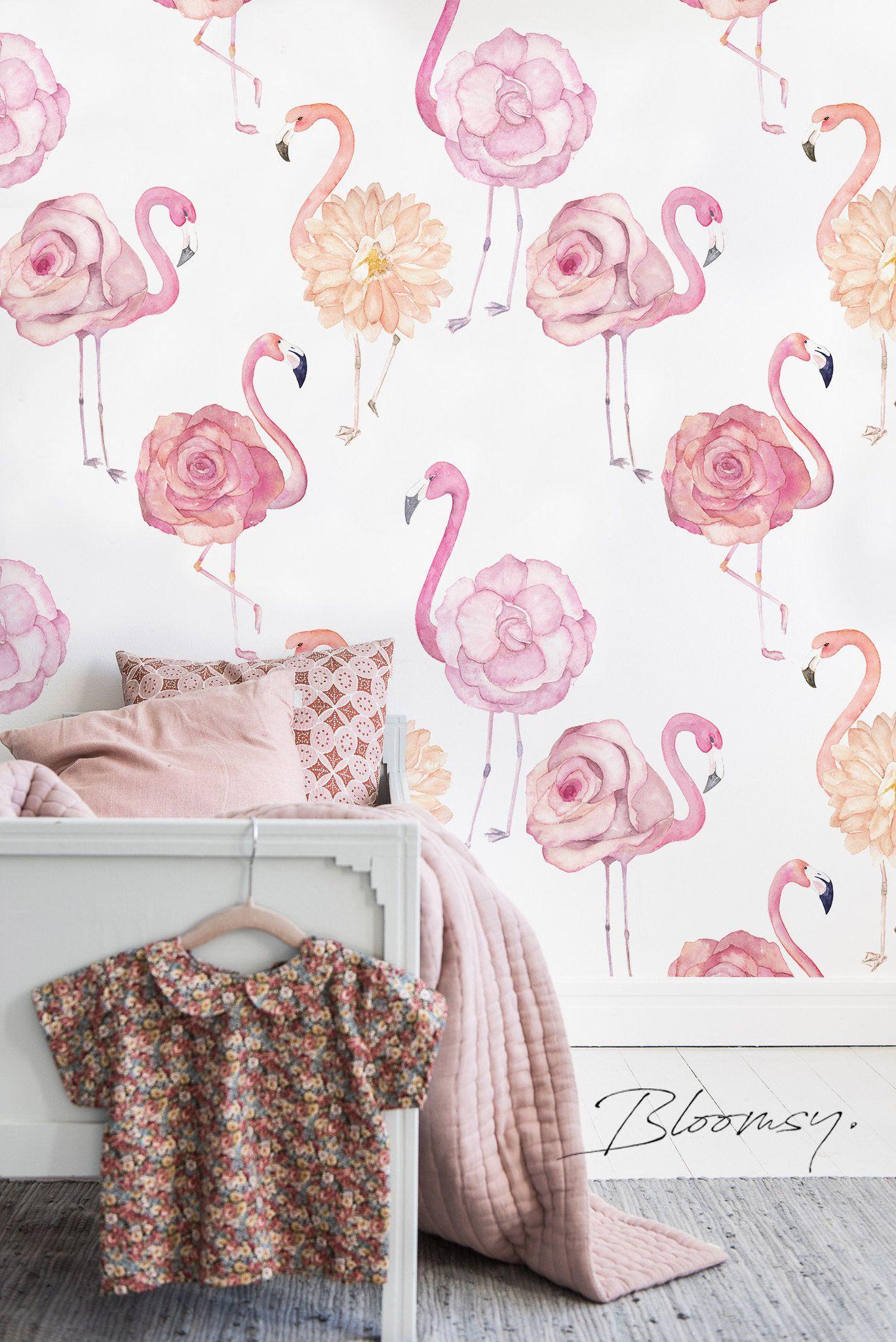 Removable Wallpaper Flamingo Roses Wallpaper Peel And Etsy Removable Wallpaper Wallpaper Bedroom Rose Wallpaper