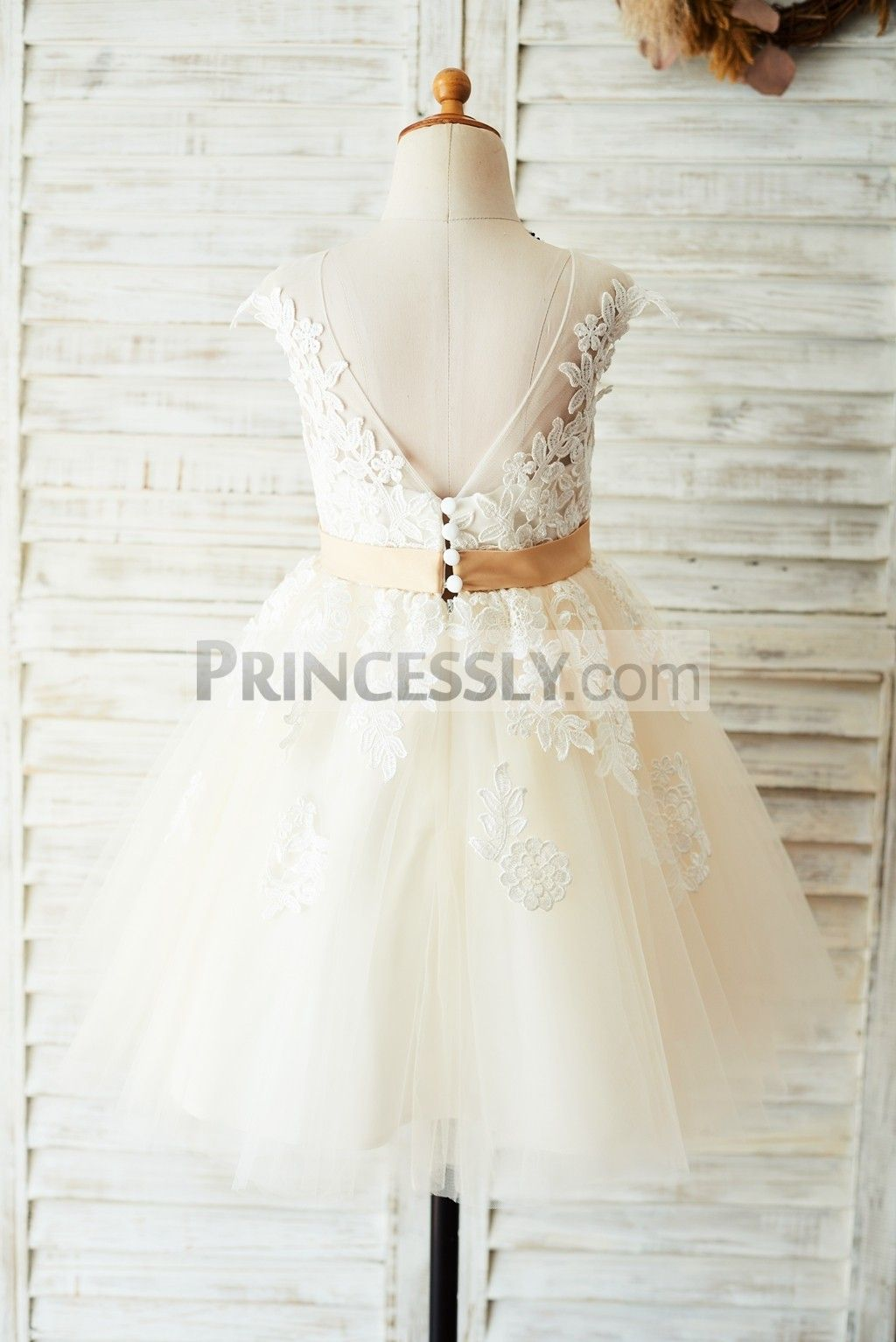 Dress for wedding party for girl  Ivory Lace Champagne Tulle Wedding Party Flower Girl Dress with V
