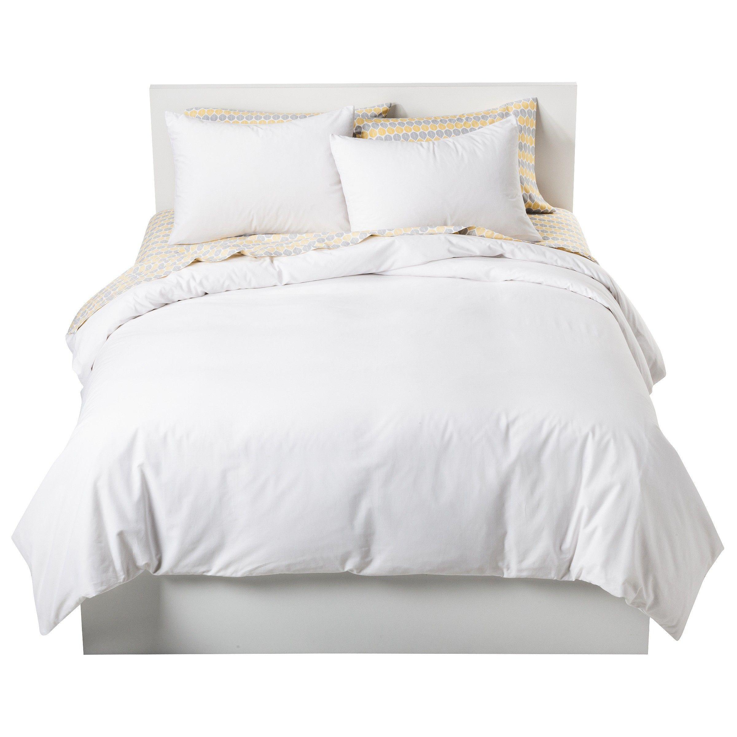 White Solid Cotton Blend Duvet Cover Set Full Queen 3pc Room