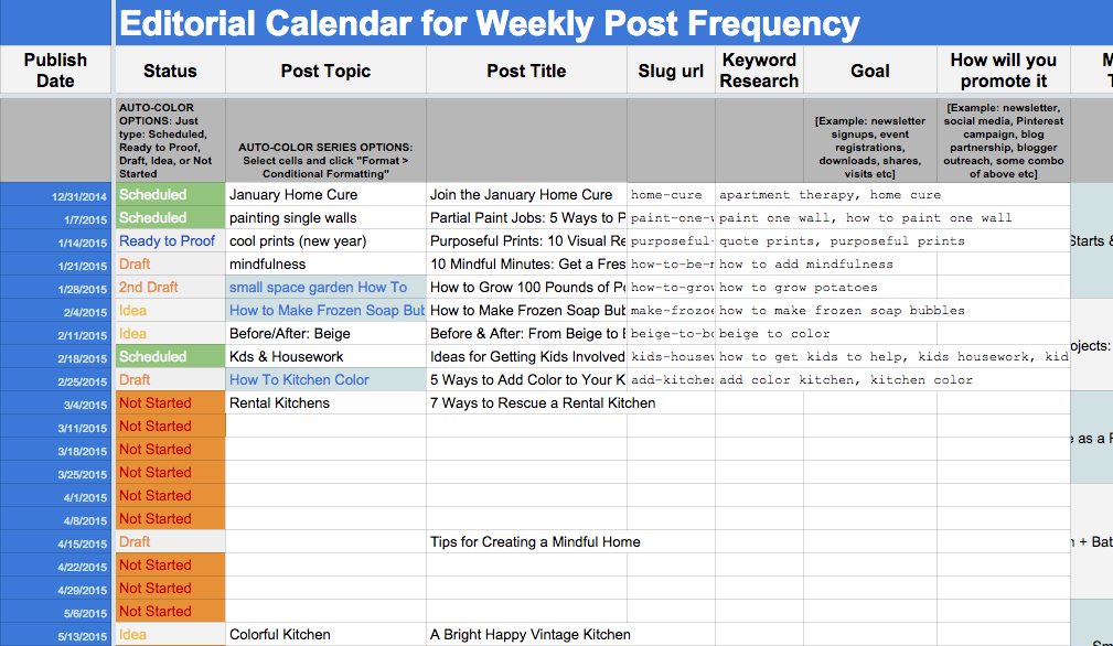 Sample Editorialcalendar Postingschedule HttpWww