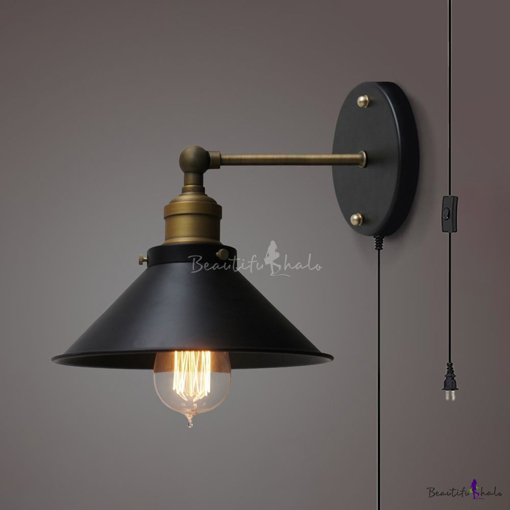 Antique Style Cone Wall Sconce 1 Light Metal Wall Lamp With Plug