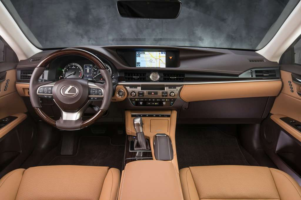 Upgrades to the ES 350 cabin include increased use of soft-touch materials and a sportier multifunction steering wheel. Photo: Lexus / Copoyright 2013 Dewhurst Photography