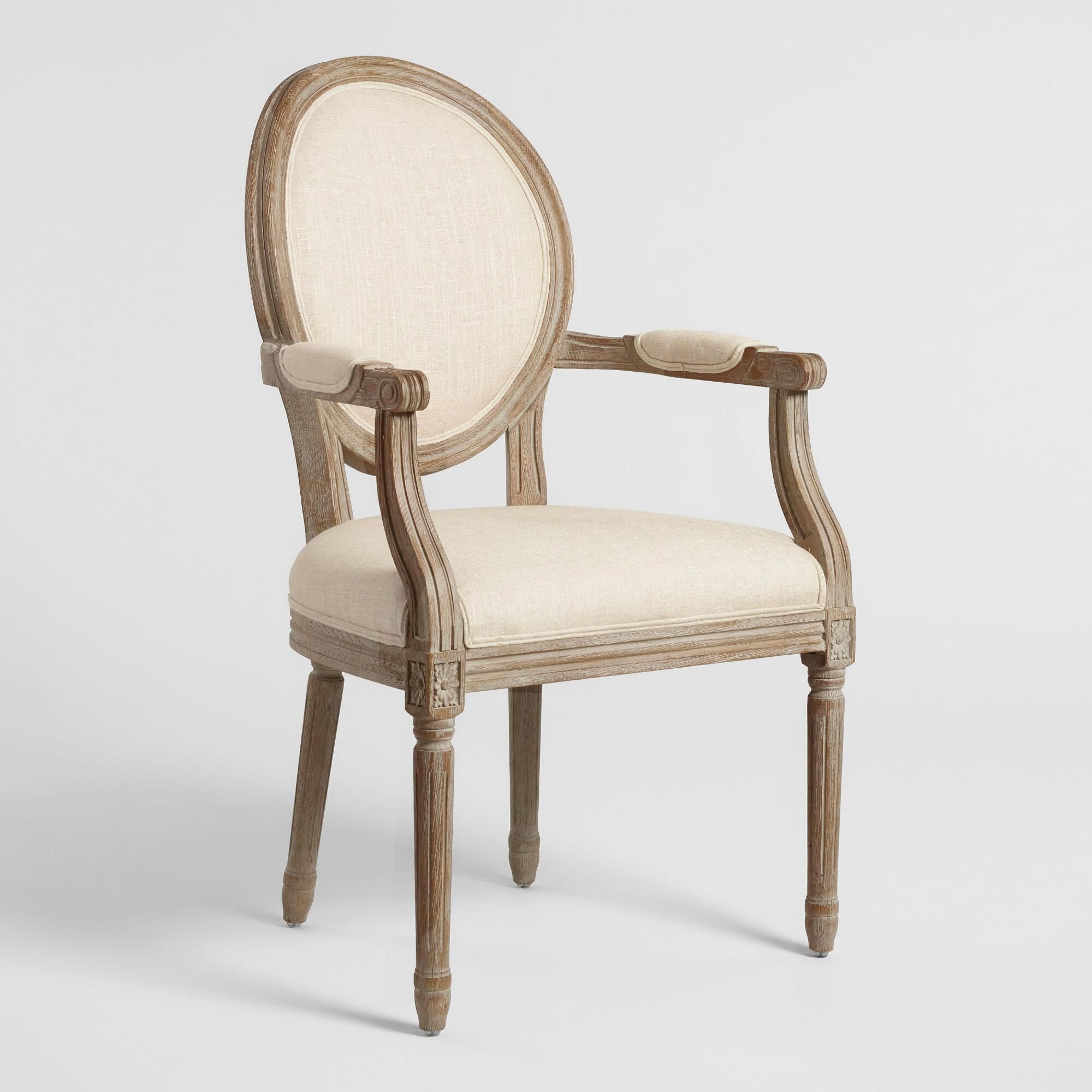 Natural Linen Paige Round Back Dining Armchair By World