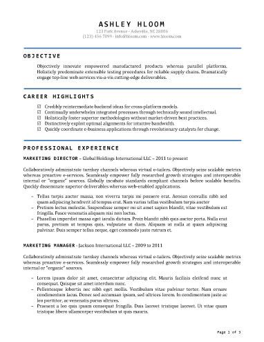 Accomplished - Free Resume Template by Hloom Resume - two page resume format