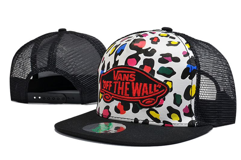 Men's Vans Basic Logo Embroidery Gold Leopard Printed Mesh Back Trucker Snapback Hat