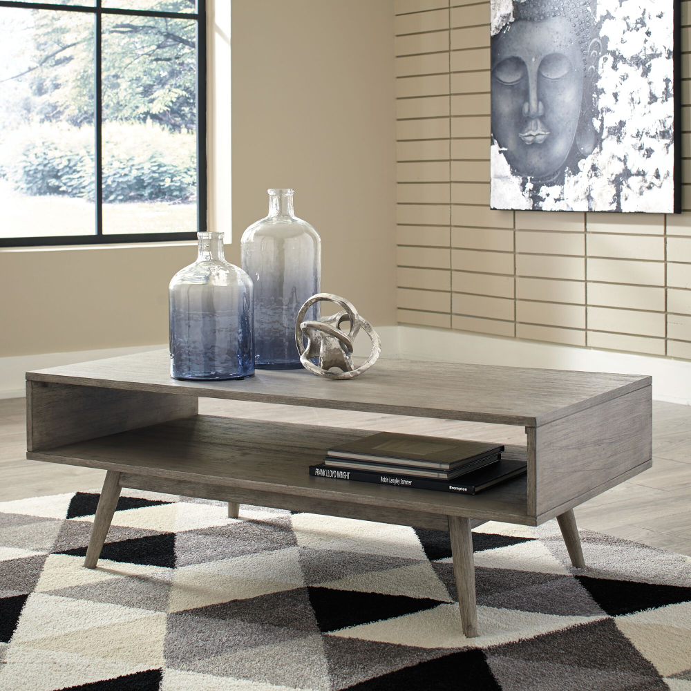 48 Modern Rectangular Cocktail Table In Gray Mathis Brothers Furniture Coffee Wooden