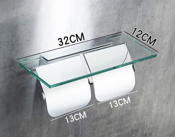 Hotel Bathroom Twin Roll Toilet Paper Holder with Covers and Glass ...