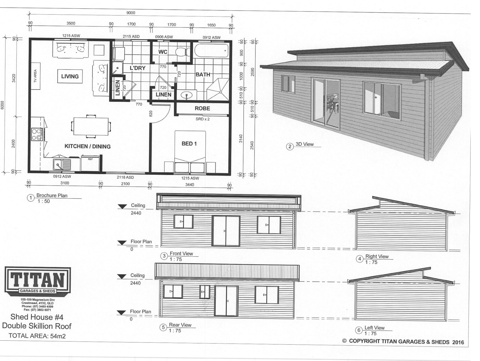 Titan Homes #4 Double Skillion Roof 54m2 www.titangaragesandsheds ...