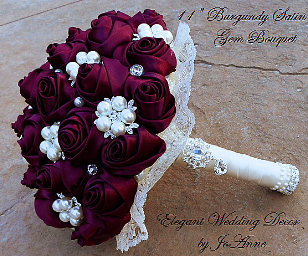 Burgundy brooch bouquet