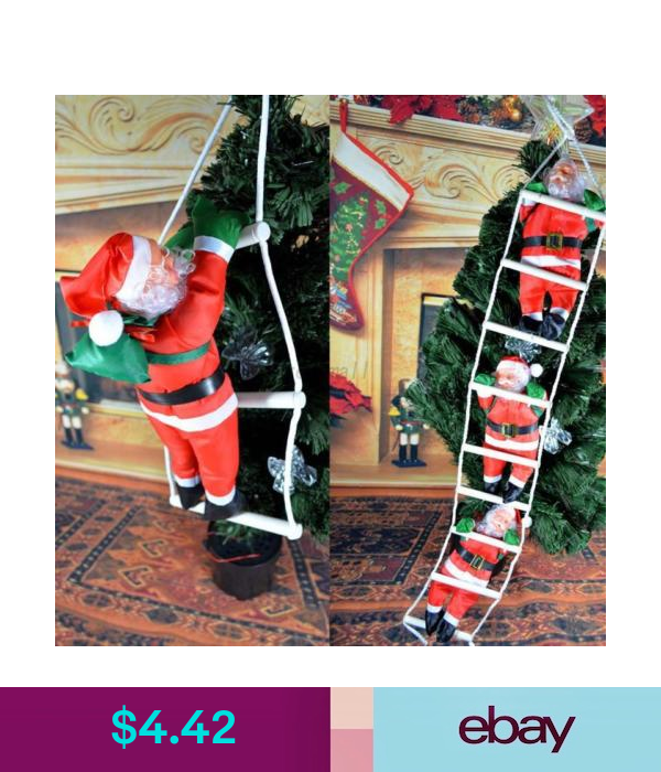 New Santa Climbing On Rope Ladder Indoor Outdoor Christmas Garden Decoration Outdoor Christmas Decorations Uk Christmas Decorations Uk Christmas Garden Decorations
