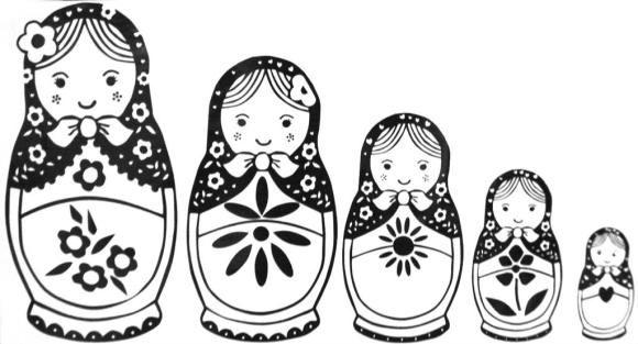 Russian Nesting Dolls Coloring Page Doll Drawing Matryoshka