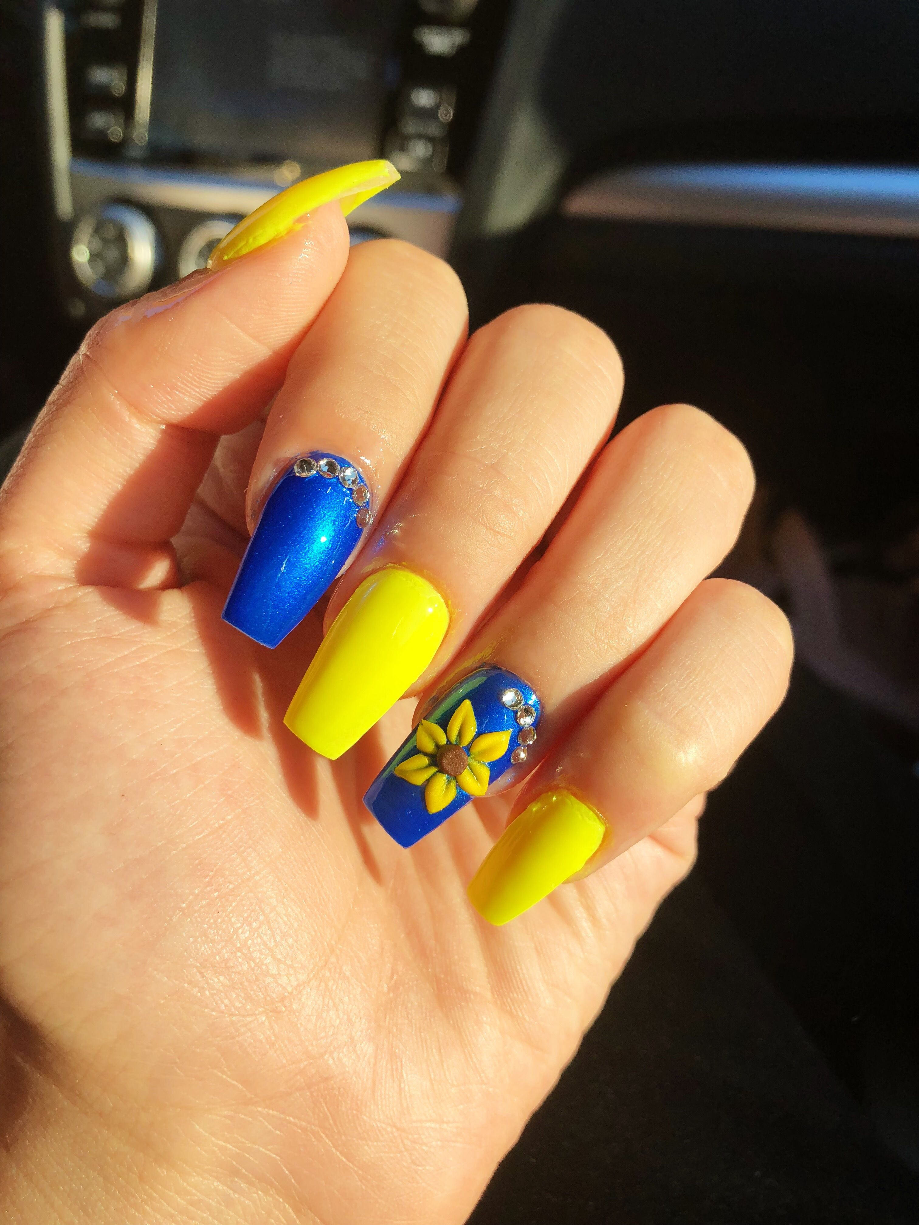 Blue And Yellow Nails Nailart Nails Coffin Yellow Nails Yellow Nail Art Sunflower Nails