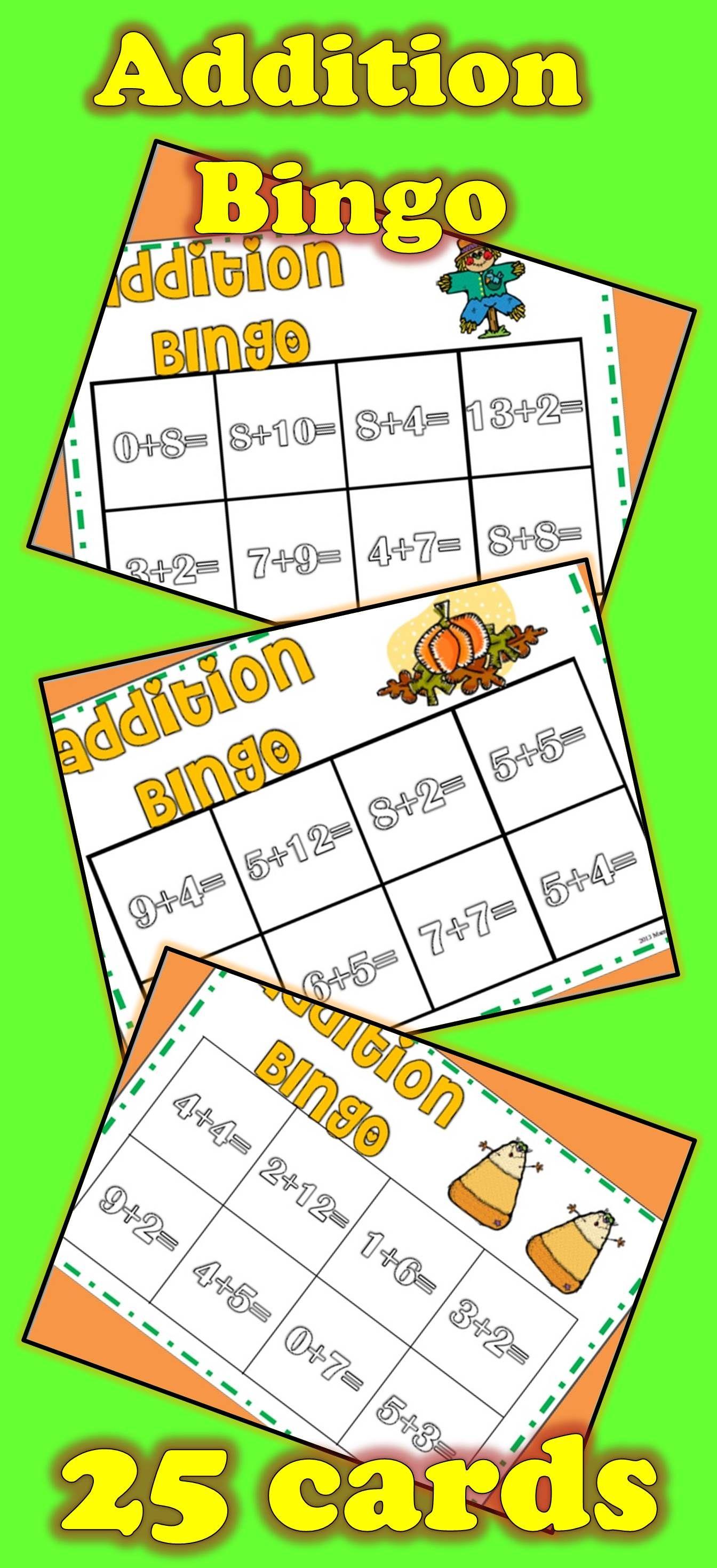 Fall addition bingo homeschool math kindergarten math