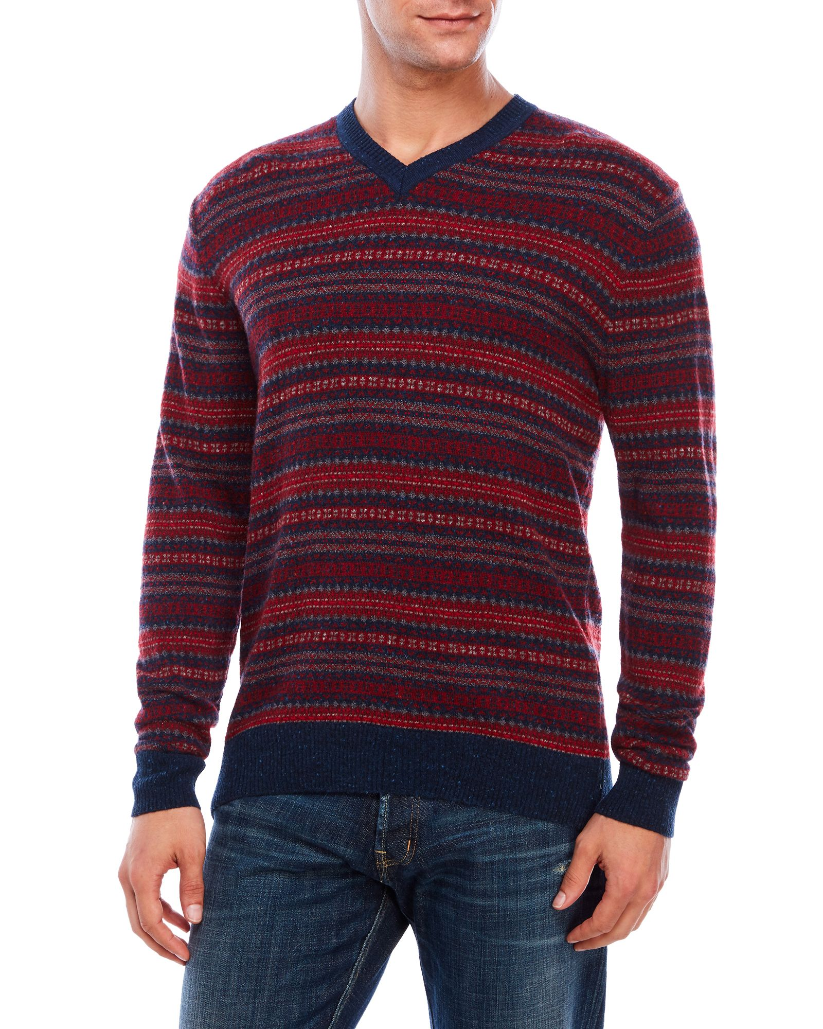 Alex Cannon V-Neck Fair Isle Wool-Blend Sweater | *Apparel ...