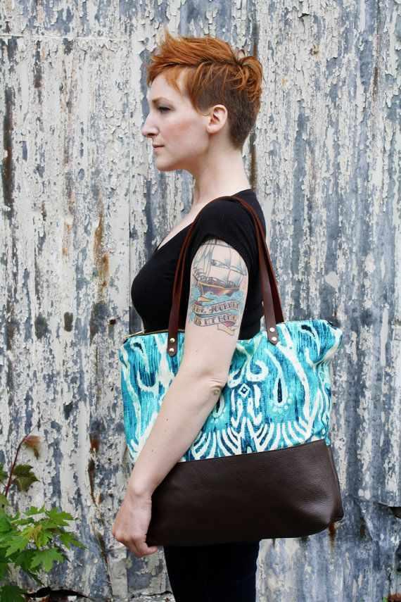 Medium Tote Bag Bright Blue Ikat and Brown Leather by piprobins, $95.00