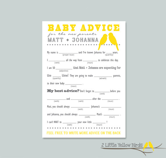 Baby Shower Advice Card Mad Libs Yellow Birds Party Ideas