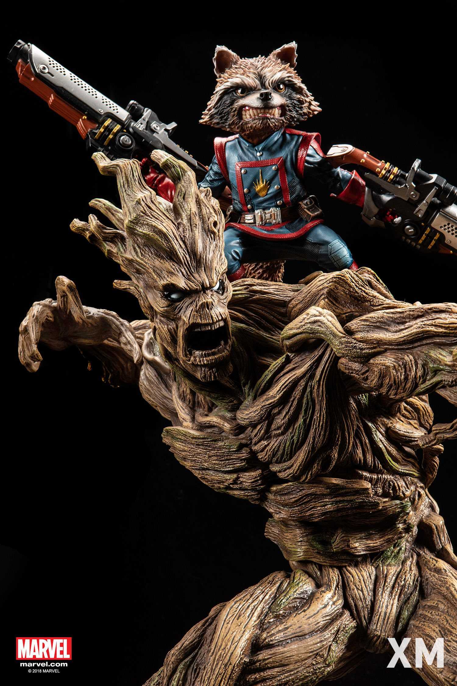 Xm Rocket Groot From The Guardians Of The Galaxy Statue Rocket Raccoon Rocket And Groot