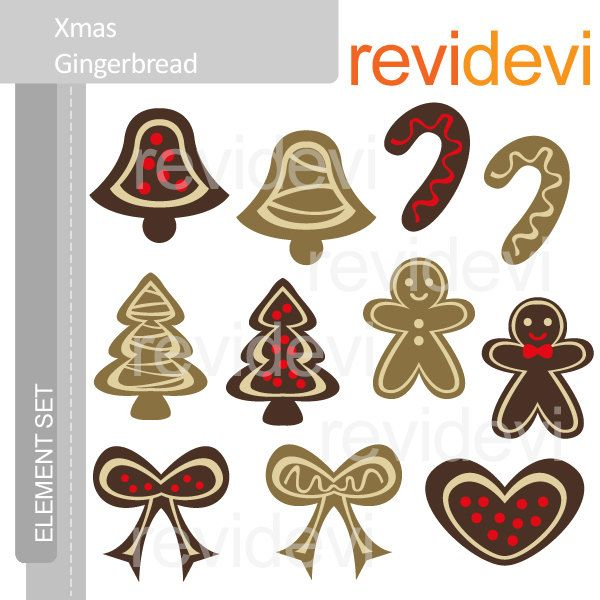 Xmas Gingerbread E032 - Element Set - Cute digital clip art graphics for Commercial Use. $5.99, via Etsy.