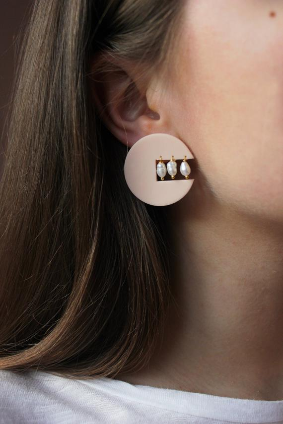 DECO PIERCERS   Polymer Clay Earrings Drop Earrings Statement Earrings Green Gifts