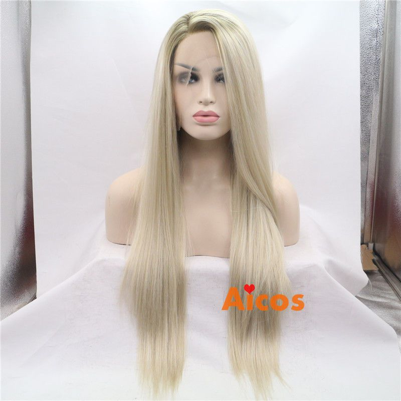 Long Straight Light Blonde Ombre Synthetic Hair Lace Front Wig Party