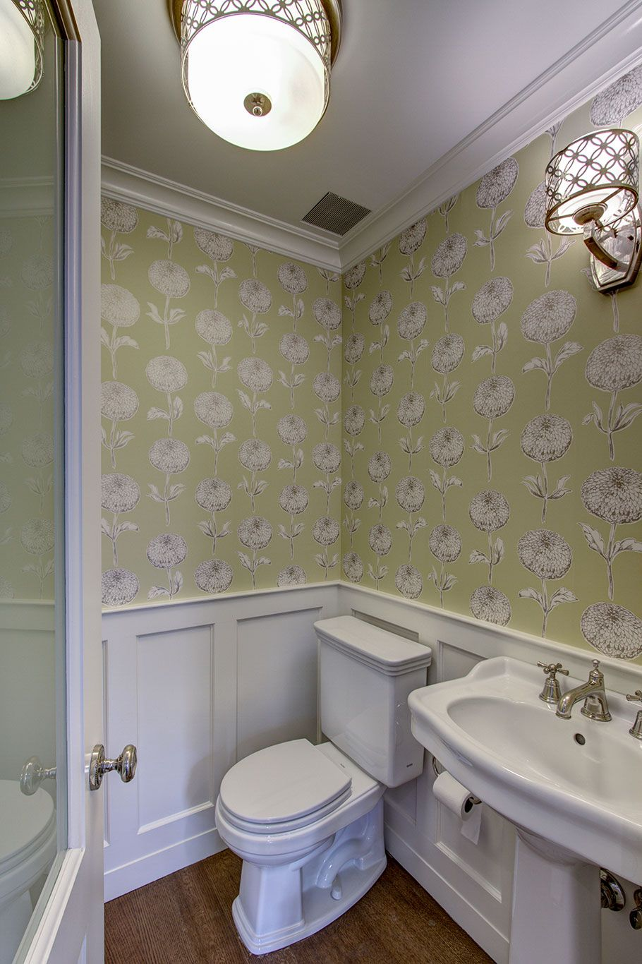 Superior Floral Wallpaper Gets An Update With A Large, Graphic Pattern. A Pedestal  Sink Saves Space, And Millwork Is Paintedwhite, Another Space Expanding  Trick.