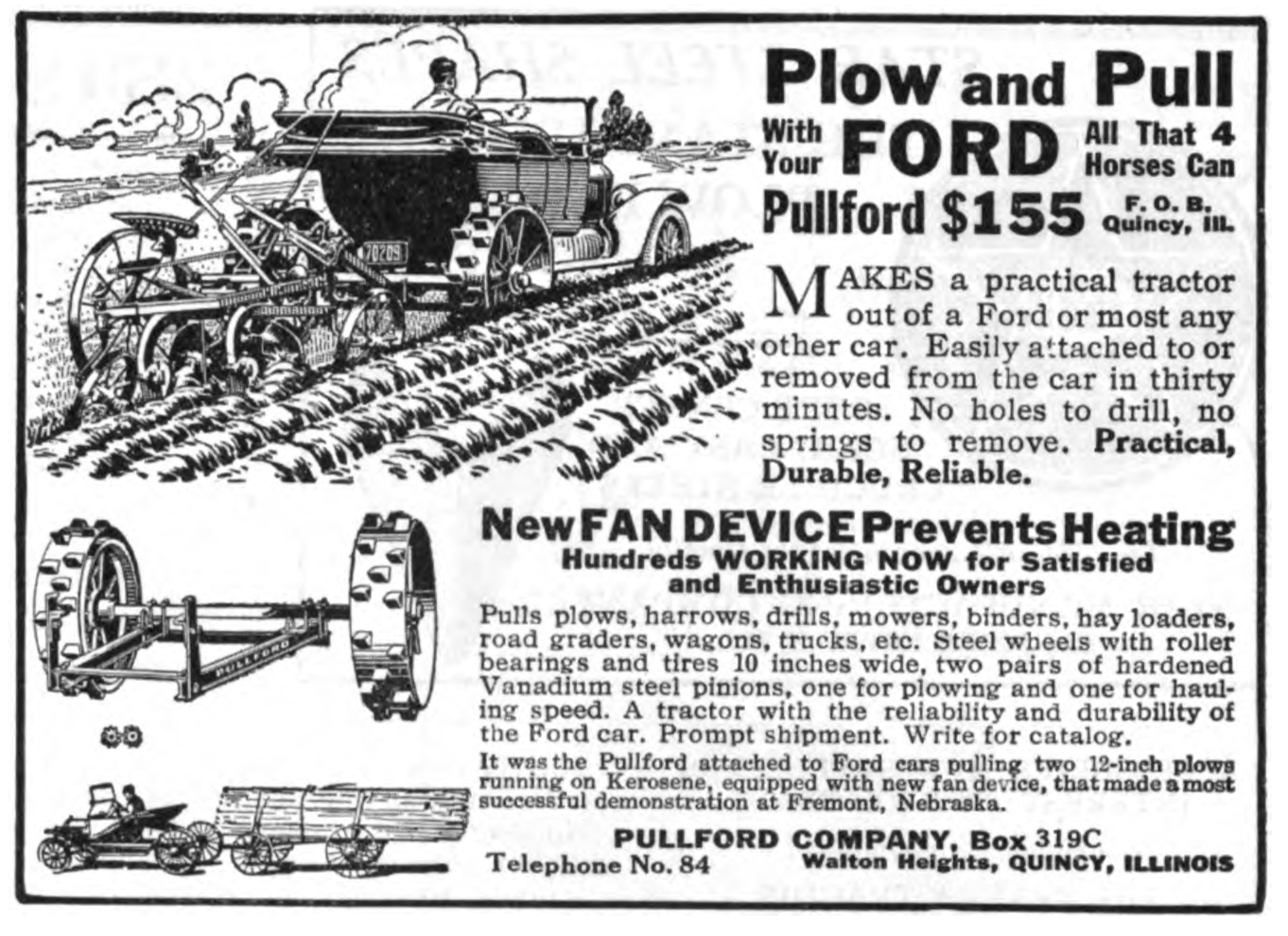 1918 Pullford autototractor conversion advertisement