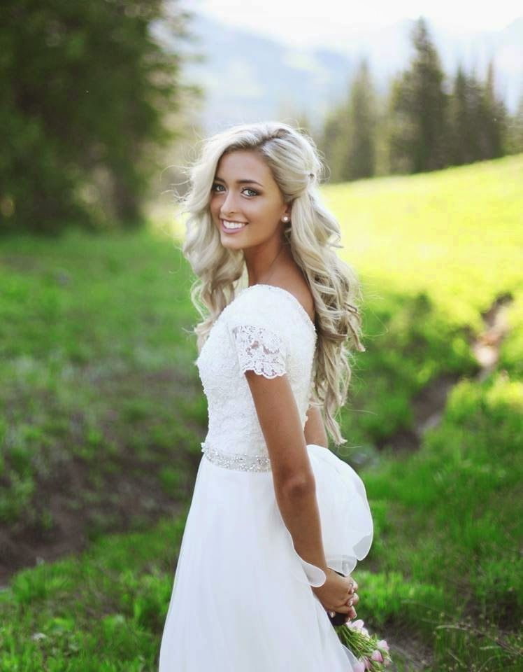 Curled Hair Pulled Back On One Side Bridal Hair Down Wedding