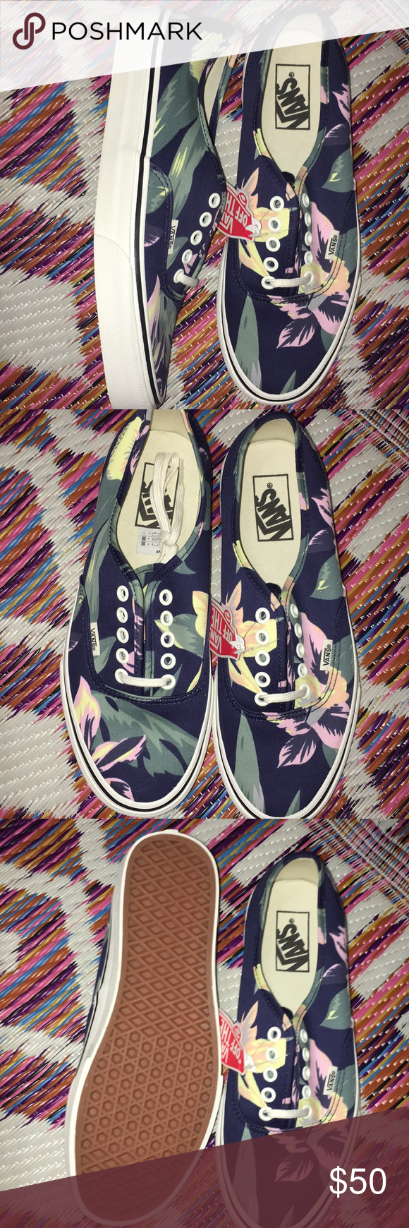 9a583f1377 Authentic Vintage floral lace up Vans Authentic lace up vintage Vans. Brand  new in original box. Navy blue with pink and yellow flowers. Green leaves.