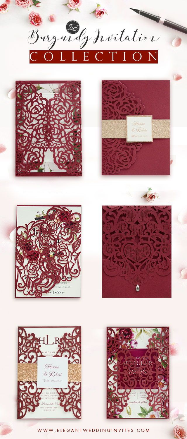 Affordable Red and Burgundy Wedding Invitations from EWI | Pinterest ...