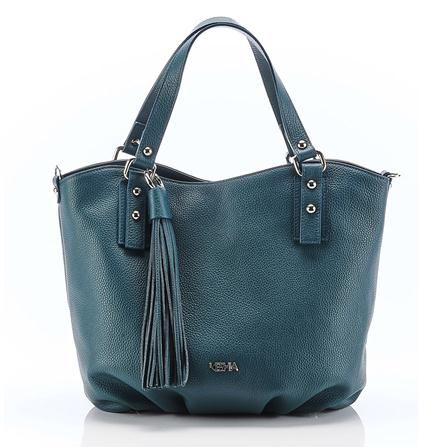 94ce926b07 Keshia Leather Handbag, Teal | Bag It Up! | Leather handbags, Tote ...
