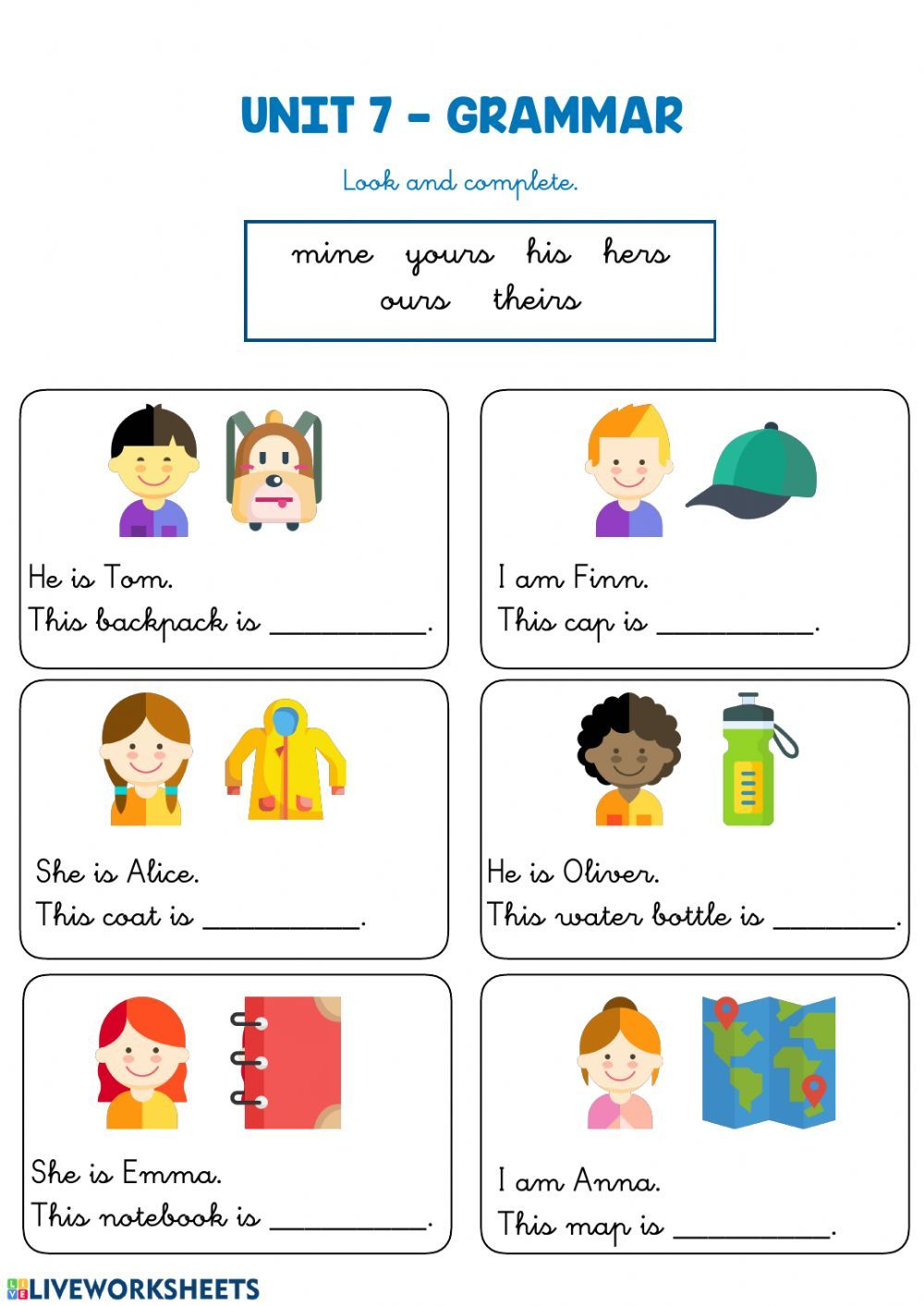 Possessive pronouns online worksheet for Grade 2 and 3. You can do the  exercises online or… in 2021   Possessive pronoun [ 1413 x 1000 Pixel ]