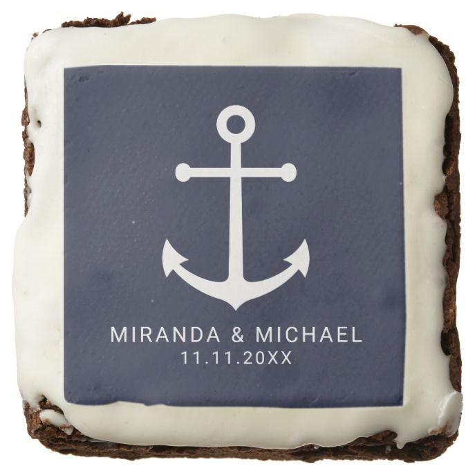 Modern Nautical Navy Blue Anchor Wedding Favor Brownie
