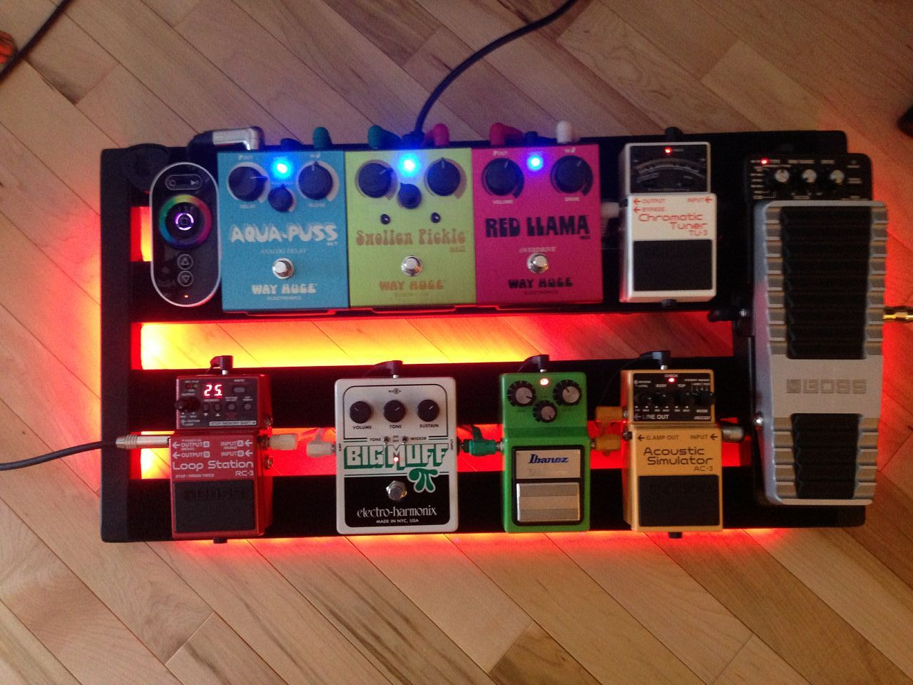 Custom Pedalboard With Led Color Change Remote Control I Used A Pedal Train 2 And Mounted Voodoo Labs Mondo Guitar Pedals Guitar Pedal Boards Diy Pedalboard