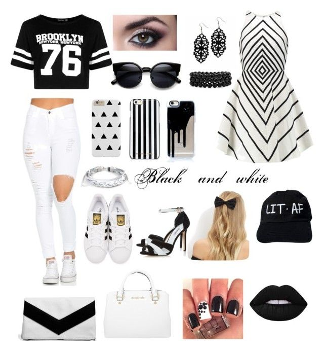 """""""Beler black and white"""" by brooklyn-adair-styles on Polyvore featuring Boohoo, adidas Originals, Michael Kors, Halston Heritage, New Look, West Coast Jewelry, Dune, MICHAEL Michael Kors, Bling Jewelry and Lime Crime"""